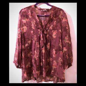 Sundance sheer floral blouse